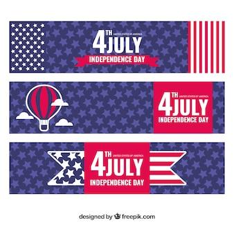 Ensemble de trois bannières du jour de l'indépendance