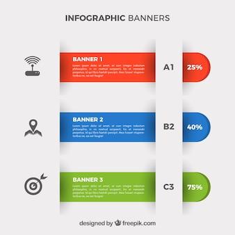 Ensemble de trois bannières infographiques colorées avec des icônes décoratives