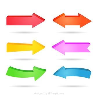 Ensemble de trois dimensions flèches colorées