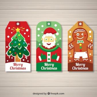 Ensemble de trois étiquettes de Noël