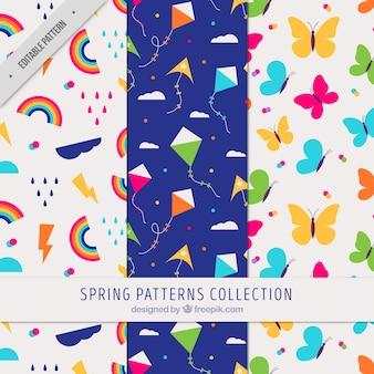 Ensemble de trois motifs colorés pour le printemps