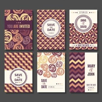 Ensemble de vecteur modèles de cartes invitation Pour sauver la mère de douche la date de bébé de jour de valentines jour anniversaire