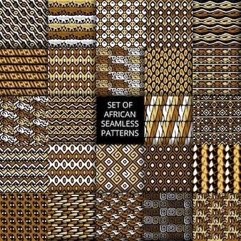 Ensemble de vecteur modèles sans couture avec l'ornement ethnique et tribale africaine