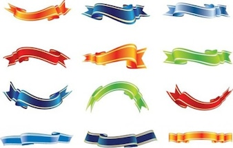 ensemble de vecteur rubans colorés