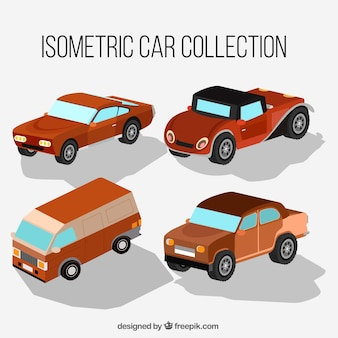 Ensemble de voitures anciennes isométriques