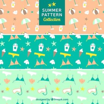 Ensemble décoratif de motifs d'été avec des objets plats