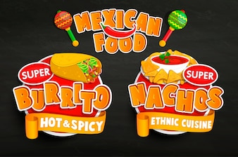 Ensemble des emblèmes alimentaires traditionnels mexicains, des autocollants.