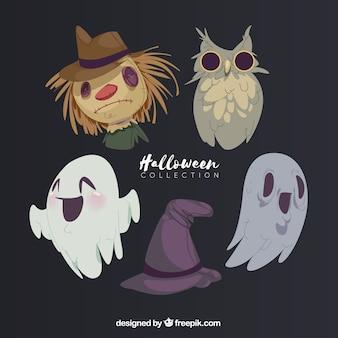 Ensemble dessiné à la main de personnages de Halloween