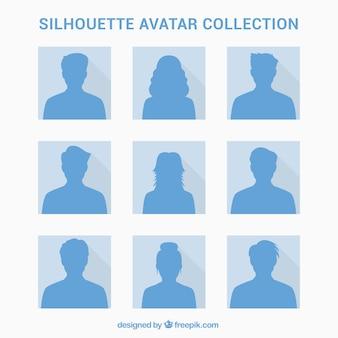 Ensemble élégant d'avatars de silhouette
