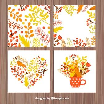 Ensemble floral de cartes d'automne