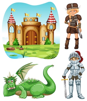 Ensemble médiévale avec illustration de chevalier et de dragon