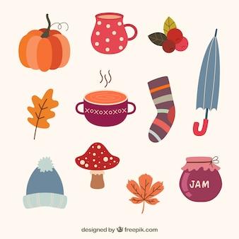 Ensemble moderne d'éléments d'automne plats