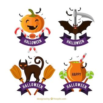 Ensemble moderne d'étiquettes drôles d'Halloween