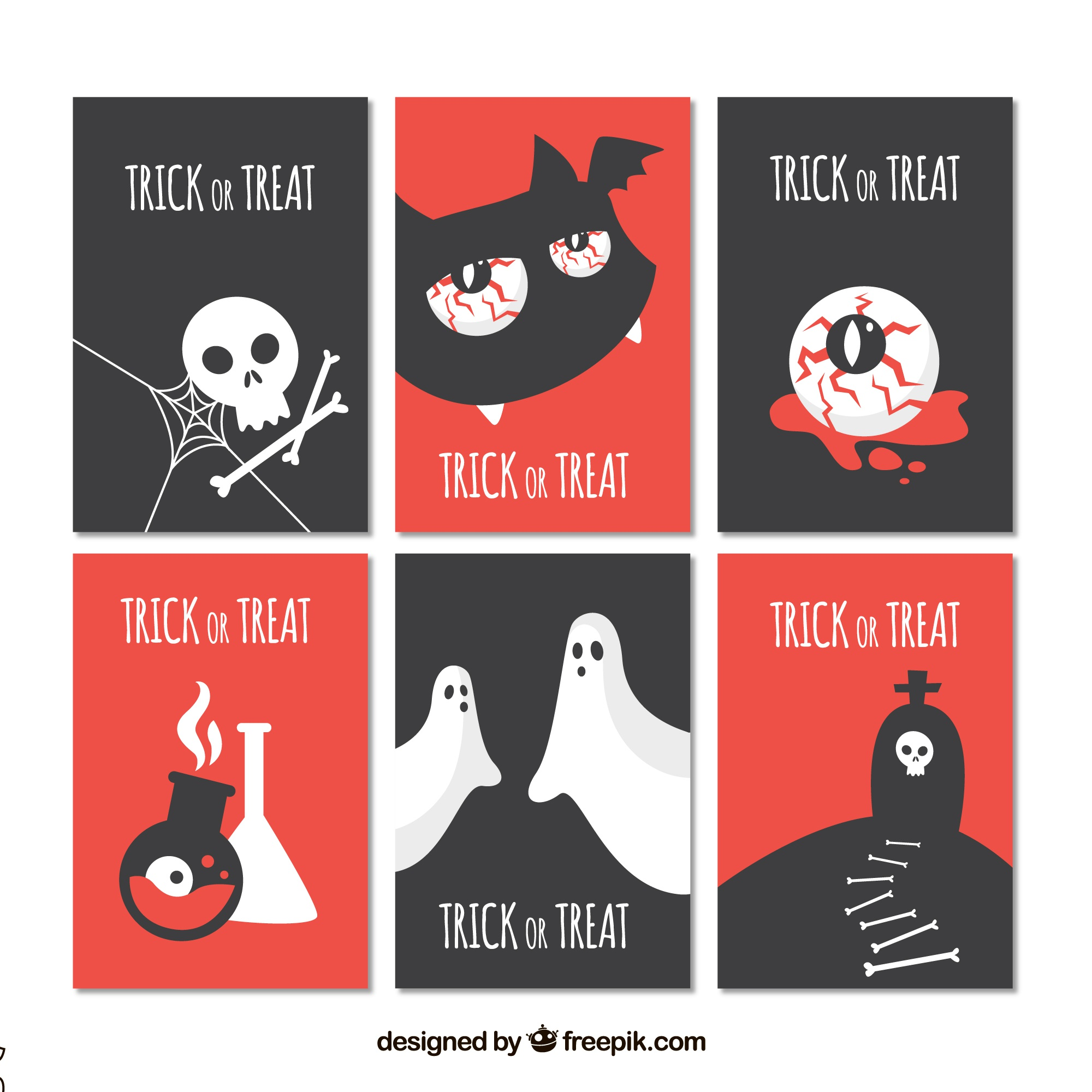 Ensemble plat de cartes halloween modernes