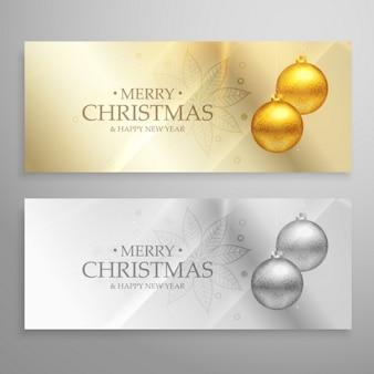 Ensemble prime de deux bannières de Noël avec des boules d'or et d'argent