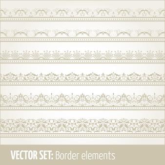 Ensemble vectoriel d'éléments de bordure et éléments de décoration de page. Patrons d'éléments de décoration de bordure. Illustrations de bordures ethniques.