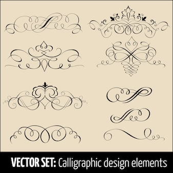 Ensemble vectoriel d'éléments de conception de calligraphie et de décoration de page. Eléments élégants pour votre conception.