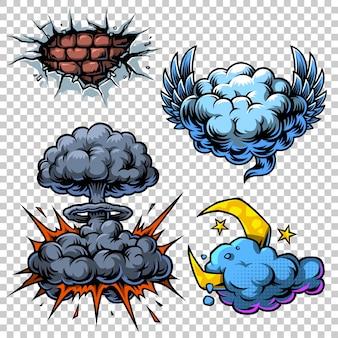 Ensemble vectoriel d'icônes de bandes dessinées en couleurs.
