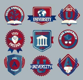 Ensemble vectoriel d'insignes scolaires et collégiaux.