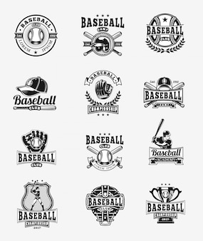 Ensemble vectoriel de badges de baseball colorés, autocollants, emblèmes