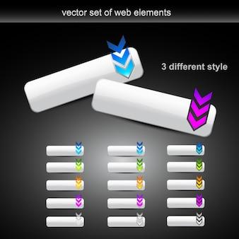 Ensemble vectoriel de différents boutons web de style