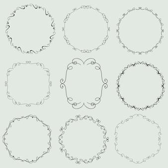 Ensemble vectoriel vintage de cadres décoratifs