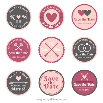 Ensemble vintage de badges de mariage