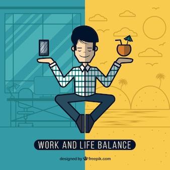 Équilibre entre le travail et la vie dans le style de ligne
