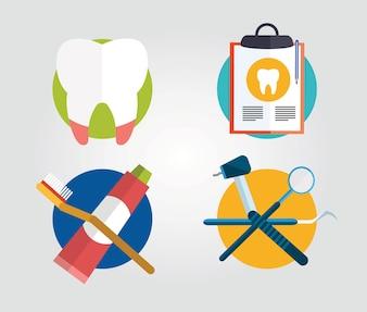 Équipement d'instruments de dentiste. Illustration vectorielle