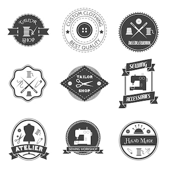 Equipement de couture, atelier, tailleur, magasin, étiquette, ensemble, isolé, vecteur, illustration