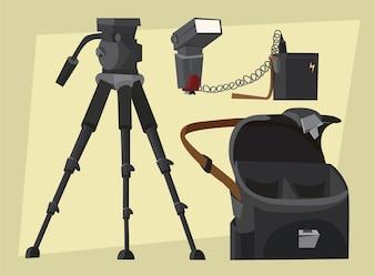 Équipement de photographe au travail. Illustration vectorielle