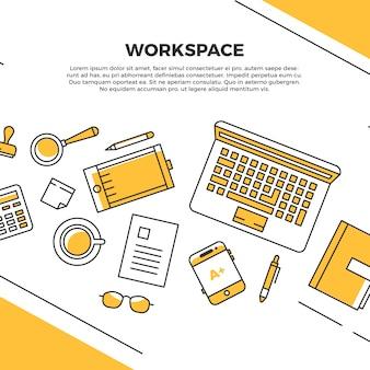 Espace de travail plat jaune