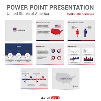 Etats-Unis Présentation Infographies ensemble