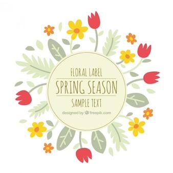 étiquette florale mignonne avec des tulipes et des feuilles
