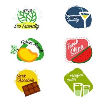 étiquettes colorées avec des produits décoratifs