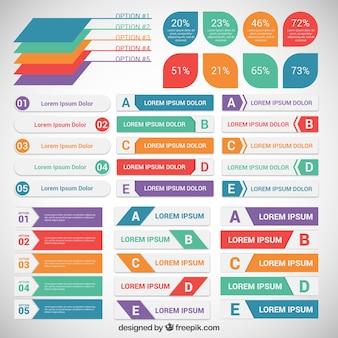 Étiquettes colorées infographiques