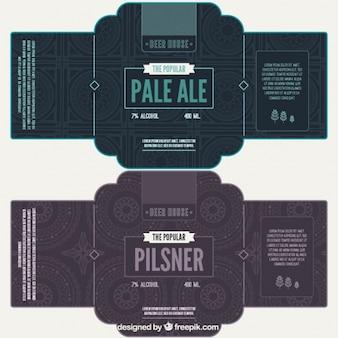 Étiquettes de bière avec un fond géométrique