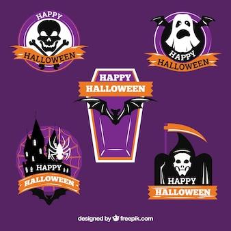Étiquettes de Halloween avec des rubans