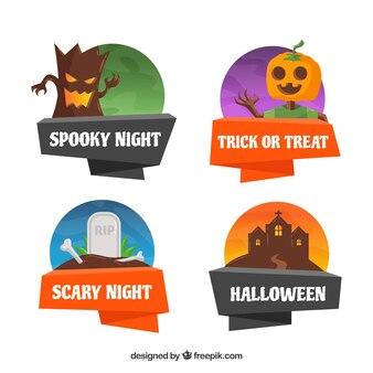 Étiquettes de Halloween avec un style effrayant