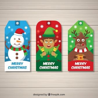 Étiquettes de Noël avec de gentils personnages