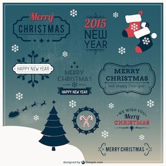 étiquettes de Noël de style rétro