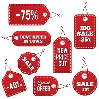 Étiquettes de prix en cuir rouge