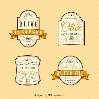 étiquettes élégantes d'olive de cru