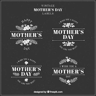 étiquettes florales pour la fête des mères dans le style vintage