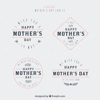 étiquettes rétro avec des détails rouges pour le jour de la mère