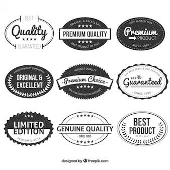 Étiquettes vintages de qualité haut de gamme ovale