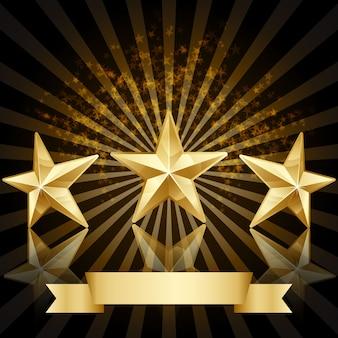 étoiles d'or vecteur de fond honneur