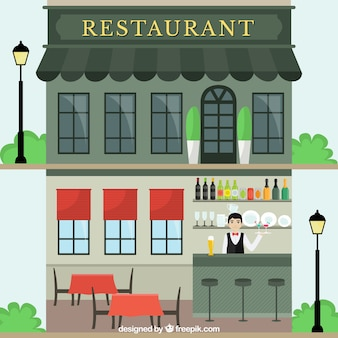 Façade de restaurant dans le style plat