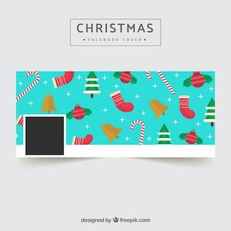 Facebook couverture de Noël en design plat