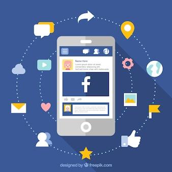 Facebook et arrière-plan mobile en conception plate